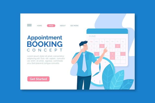 Page de destination du concept de réservation de rendez-vous