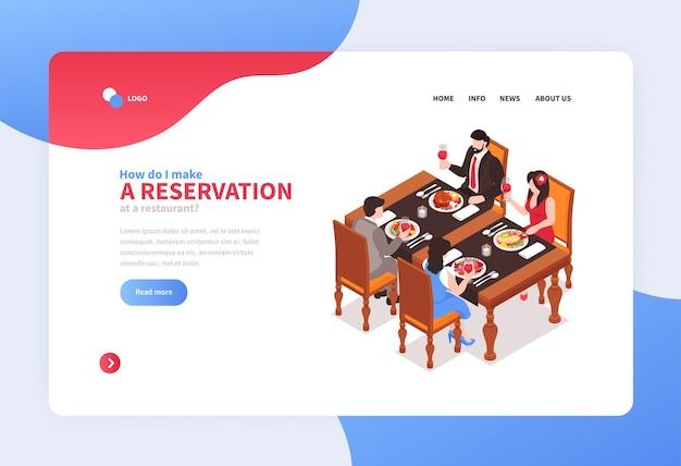 Page de destination du concept de restaurant isométrique
