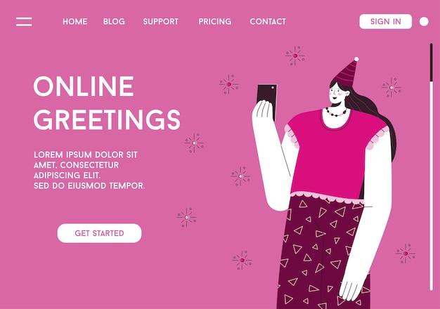 Page de destination du concept de salutations en ligne
