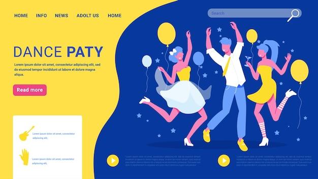 Page de destination du concept de soirée dansante