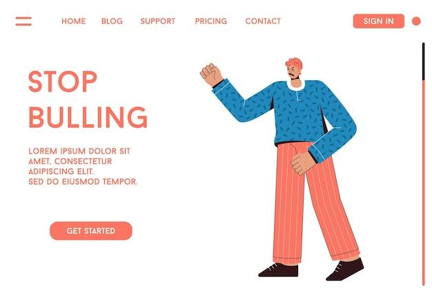 Page de destination du concept stop bullying