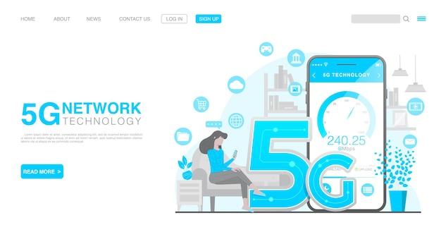 Page de destination du concept de technologie sans fil de réseau 5g vecteur premium