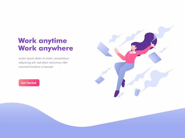 Page de destination du concept de travail indépendant, flexibilité et mobile