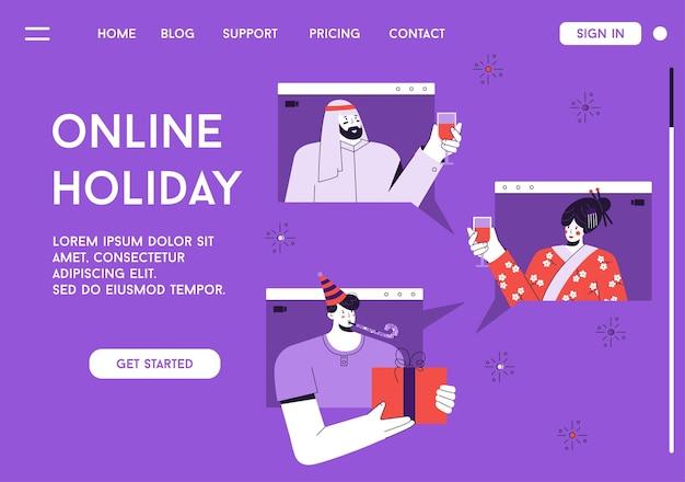 Page de destination du concept de vacances en ligne