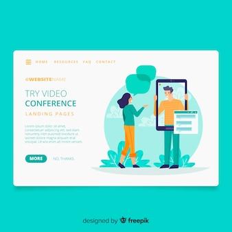 Page de destination du concept de vidéoconférence