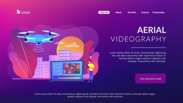 Page de destination du concept de vidéographie aérienne