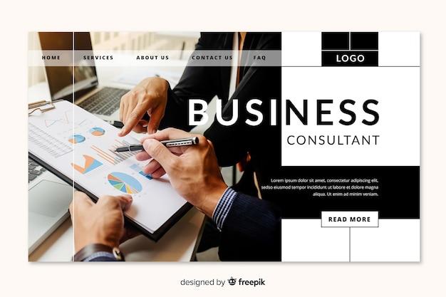 Page de destination du consultant en affaires