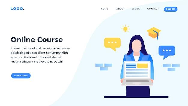 Page de destination du cours en ligne