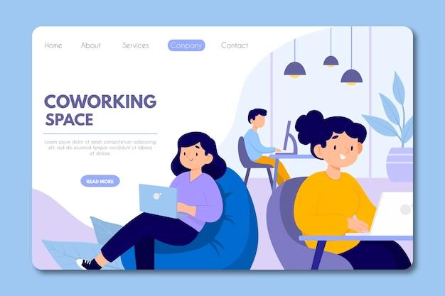 Page de destination du coworking