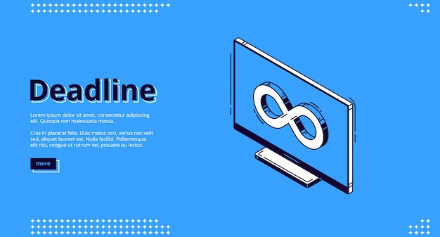 Page de destination du délai avec l'icône de l'infini