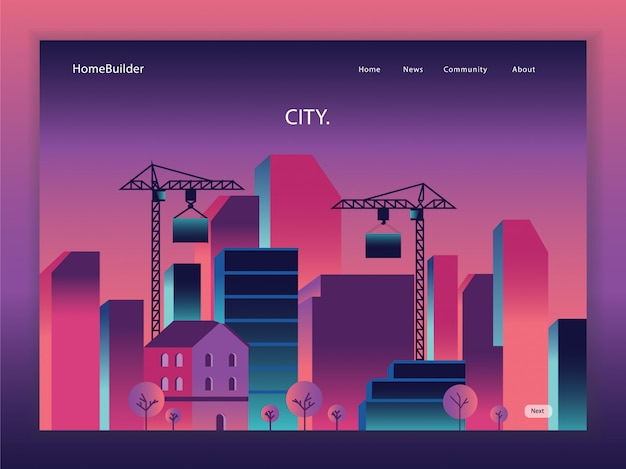 Page de destination du dessin animé immobilier