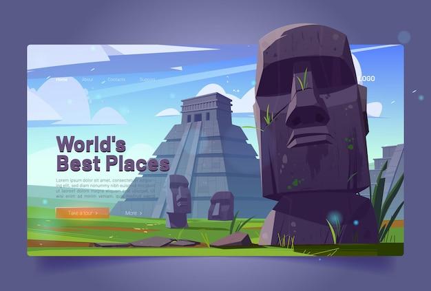 Page de destination du dessin animé des meilleurs endroits du monde