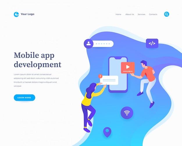 Page de destination du développement d'applications mobiles