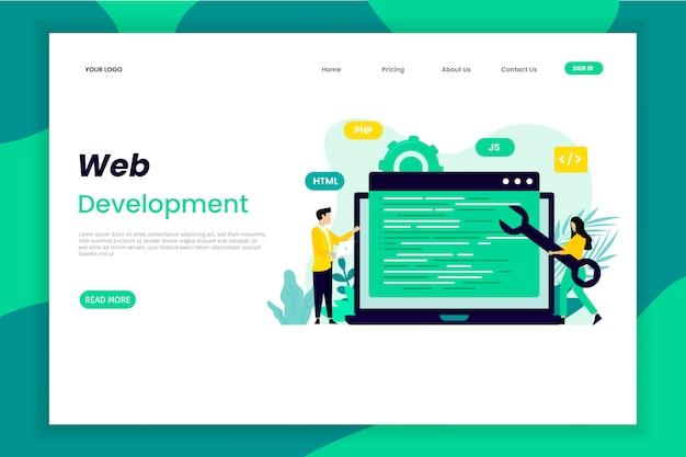 Page de destination du développement d'applications web