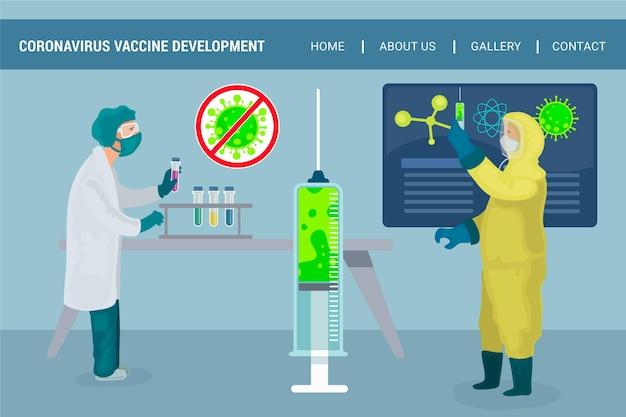Page de destination du développement d'un vaccin contre les coronavirus