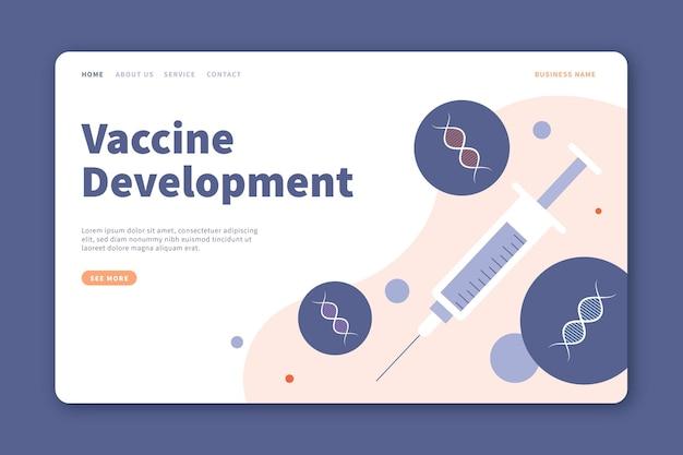 Page de destination du développement d'un vaccin