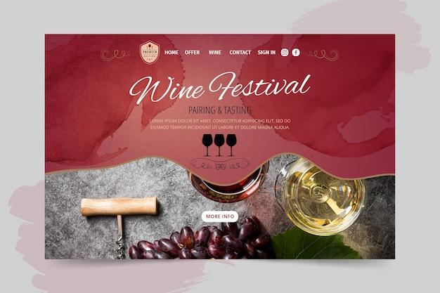 Page de destination du festival du vin