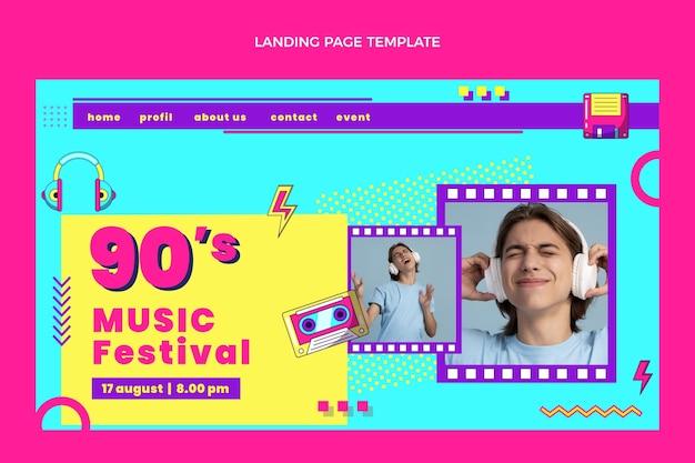 Page de destination du festival de musique des années 90 au design plat