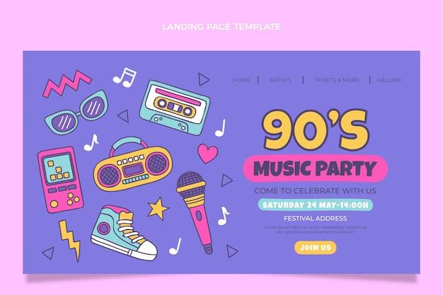 Page de destination du festival de musique des années 90 dessinée à la main