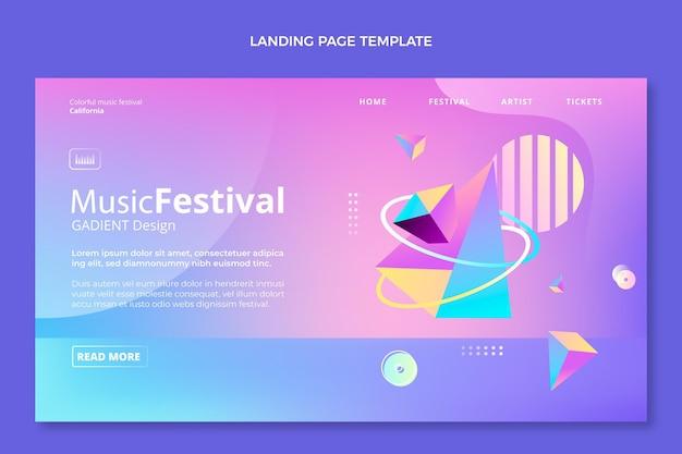 Page de destination du festival de musique coloré dégradé