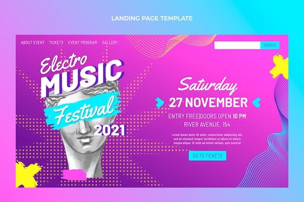 Page de destination du festival de musique colorée dessinée à la main