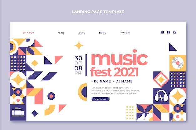 Page de destination du festival de musique en mosaïque design plat