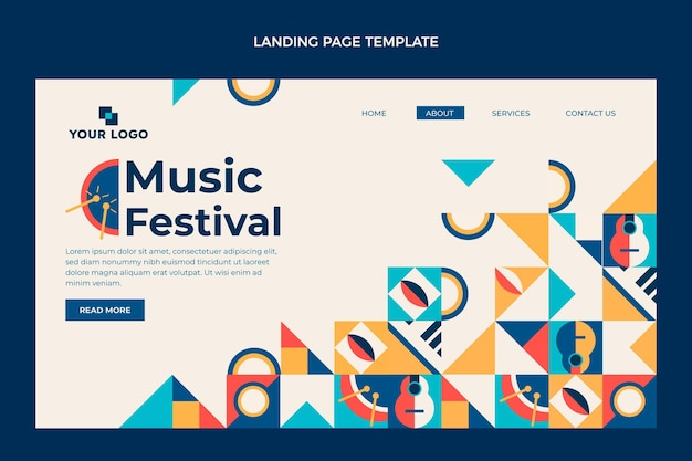 Page de destination du festival de musique en mosaïque plate