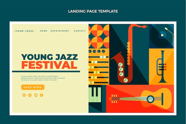 Page de destination du festival de musique en mosaïque de style plat