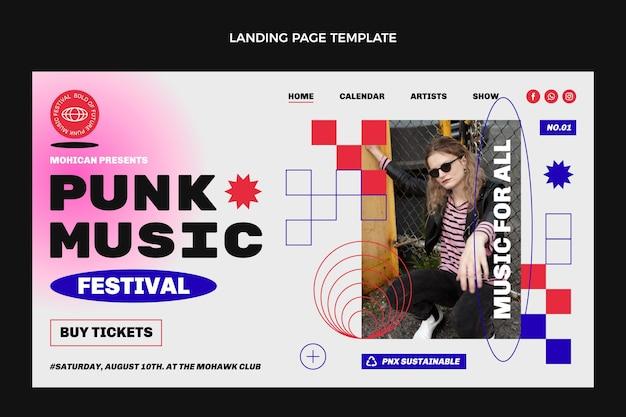 Page de destination du festival de musique nostalgique des années 90 au design plat
