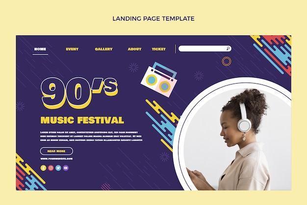 Page de destination du festival de musique nostalgique au design plat
