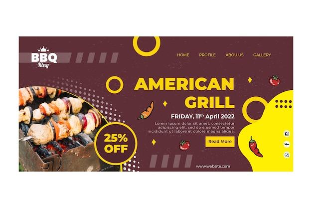 Page de destination du grill américain