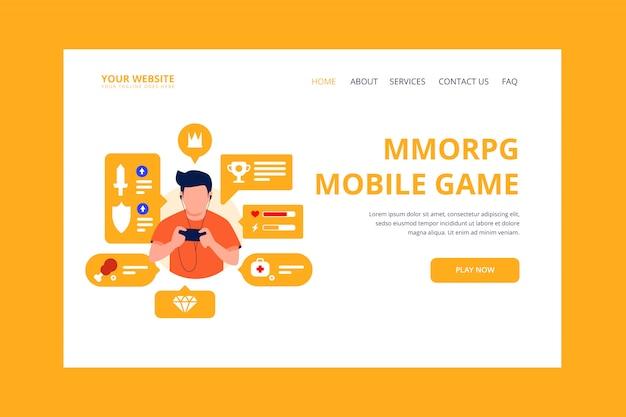 Page de destination du jeu mobile