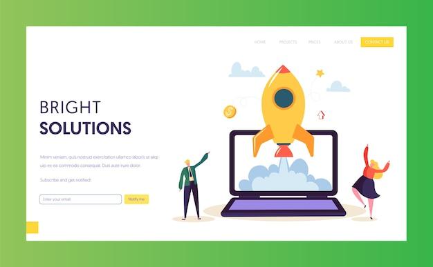 Page de destination du lancement de creative startup rocket