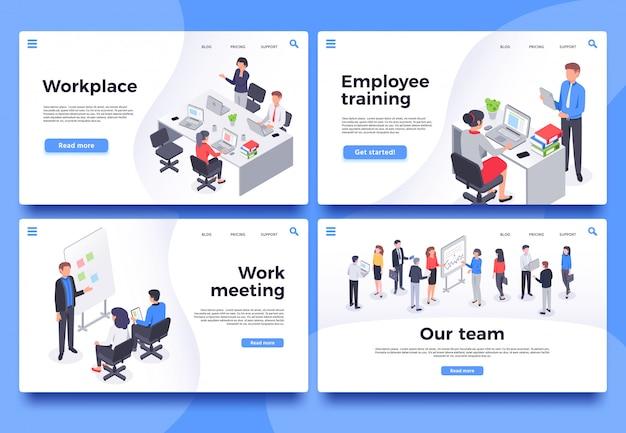 Page de destination du lieu de travail. employés de bureau, réunion de remue-méninges et ensemble d'illustration de l'équipe commerciale