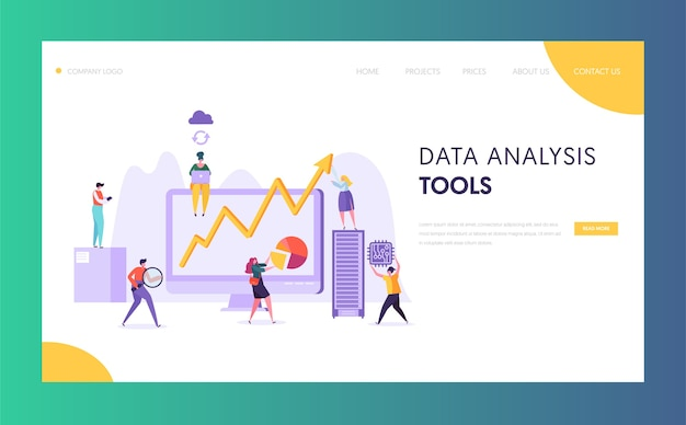 Page de destination du logiciel d'analyse de données d'entreprise