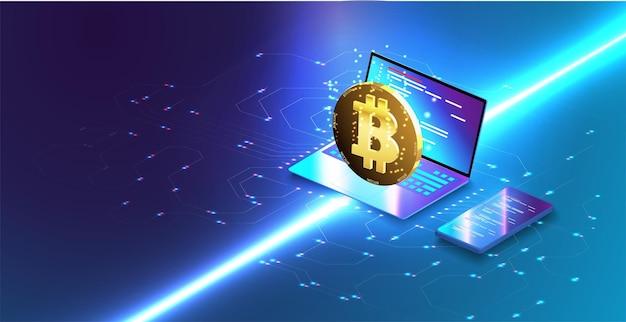 Page de destination du marché des devises crypto. hologramme d'une pièce de monnaie bitcoin sur fond bleu futuriste monnaie numérique ou ferme minière de crypto-monnaie. création de bitcoins. extraction de crypto, concept de blockchain.