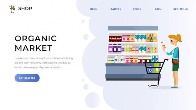 Page de destination du marché des produits biologiques