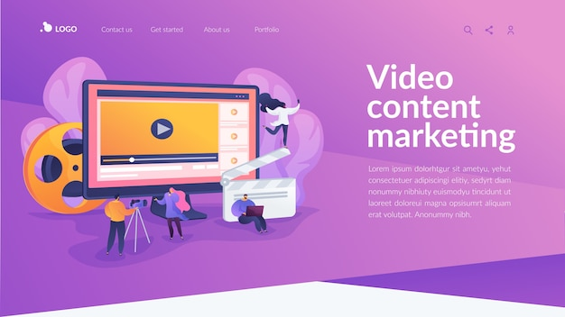 Page de destination du marketing de contenu vidéo