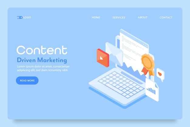 Page de destination du marketing de contenu
