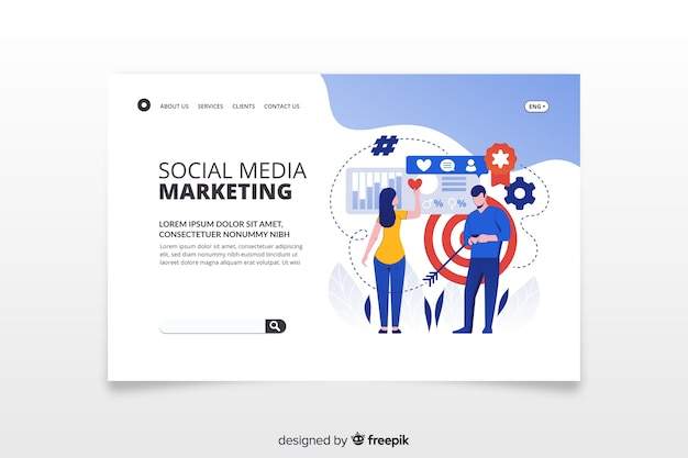 Page de destination du marketing dans les médias sociaux