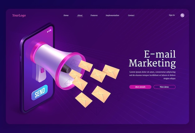 Page de destination du marketing par e-mail