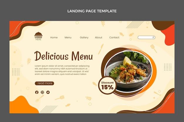 Page de destination du menu des plats délicieux au design plat