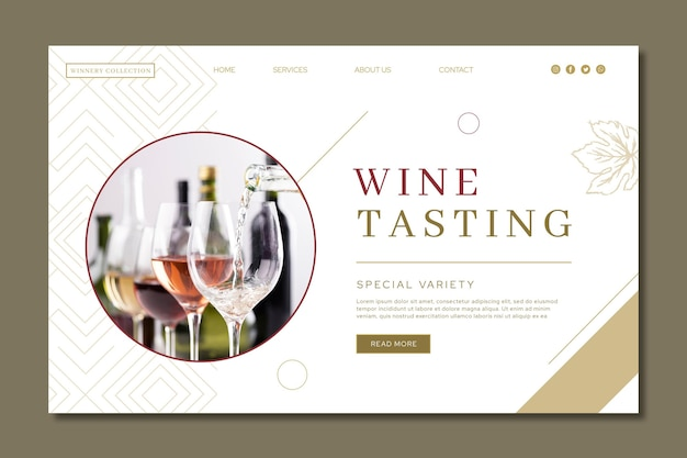 Page de destination du modèle d'annonce de dégustation de vin