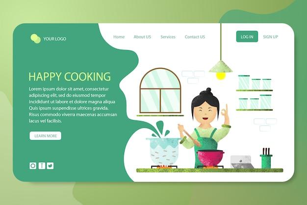 Page de destination du modèle de conception de cuisine heureuse