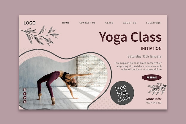 Page de destination du modèle de cours de yoga