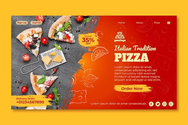 Page de destination du modèle de cuisine italienne