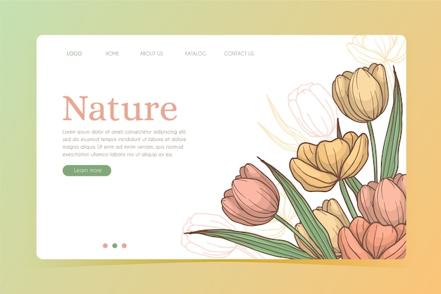Page de destination du modèle naturel dessiné à la main
