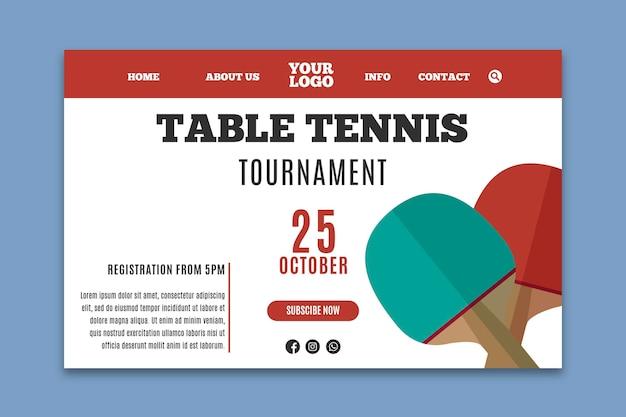 Page de destination du modèle de tennis de table