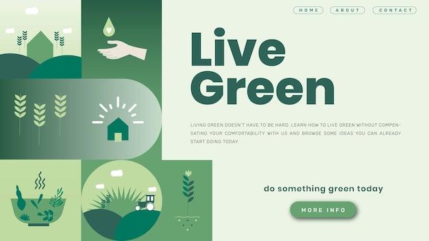 Page De Destination Du Modèle Vert En Direct Vecteur gratuit