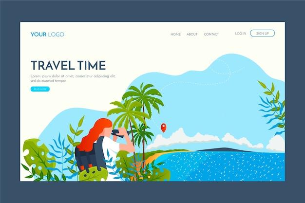 Page de destination du modèle de voyage design plat